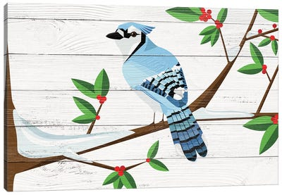 Berry Blue Jay Canvas Art Print