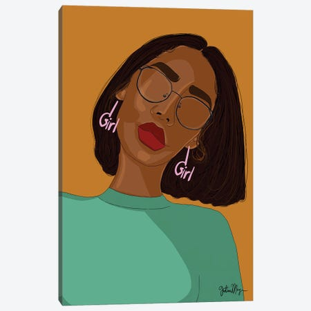 Girl In Glasses Canvas Print #WWS51} by Winnie Weston Art Print