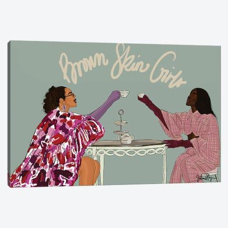 Brown Skin Girls Canvas Print #WWS59} by Winnie Weston Art Print