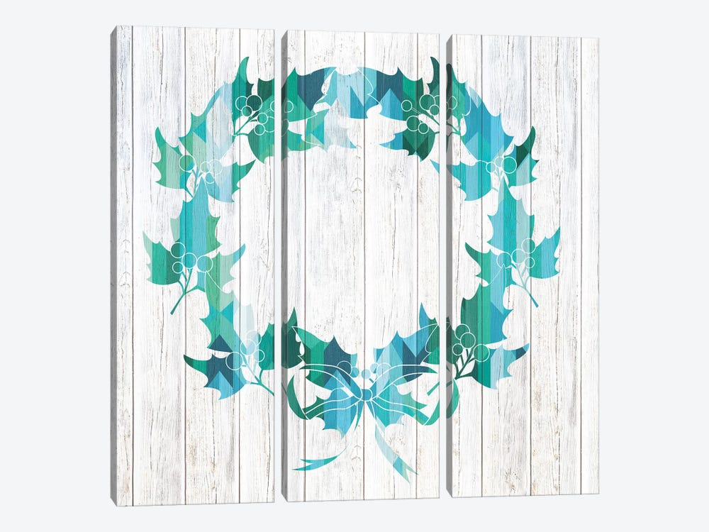 Wreath Of Holly by 5by5collective 3-piece Canvas Wall Art