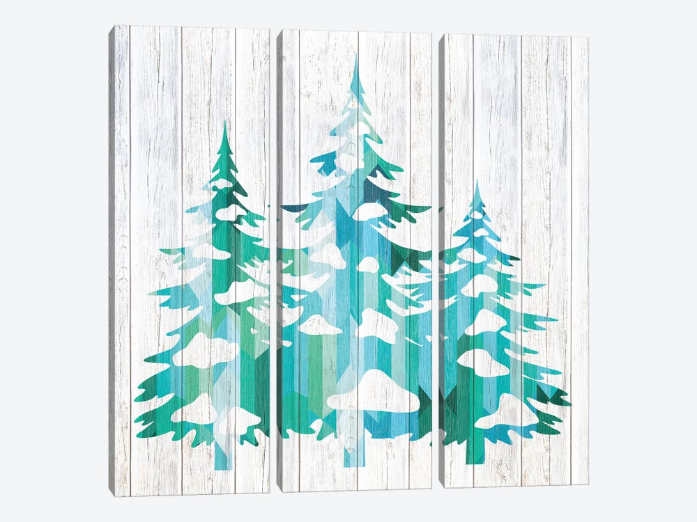 Snowfall Pines by 5by5collective 3-piece Canvas Artwork