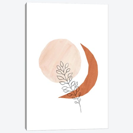 Sun Moon And Plant Canvas Print #WWY101} by Whales Way Canvas Artwork