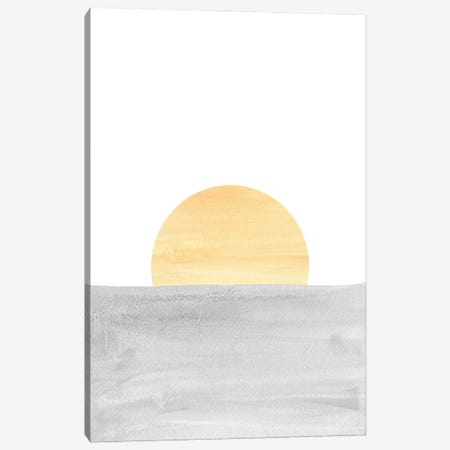 Gray And Yellow Sunset 3-Piece Canvas #WWY108} by Whales Way Canvas Artwork