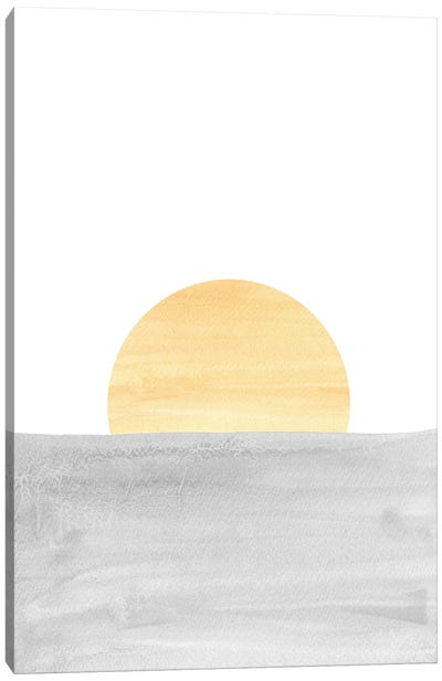 Gray And Yellow Sunset Canvas Art Print
