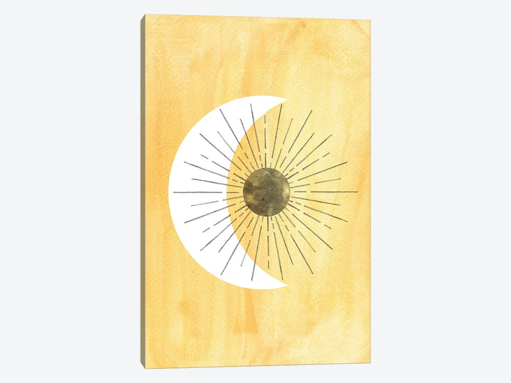 Abstract Yellow Sun And Crescent by Whales Way 1-piece Art Print
