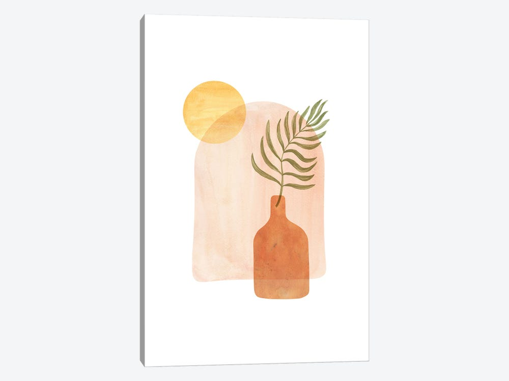 Boho Vase And Palm Leaf by Whales Way 1-piece Canvas Artwork