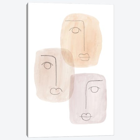 Abstract boho faces Canvas Print #WWY131} by Whales Way Art Print