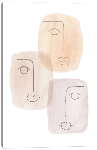 Abstract boho faces Canvas Art Print