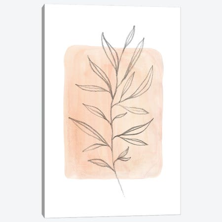Pastel peach tone plant 3-Piece Canvas #WWY133} by Whales Way Art Print