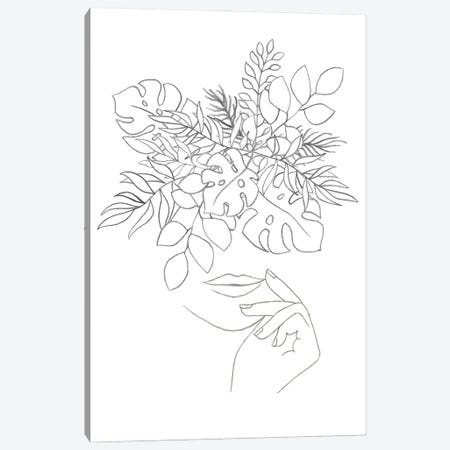 Line art woman and plants Canvas Print #WWY134} by Whales Way Canvas Wall Art