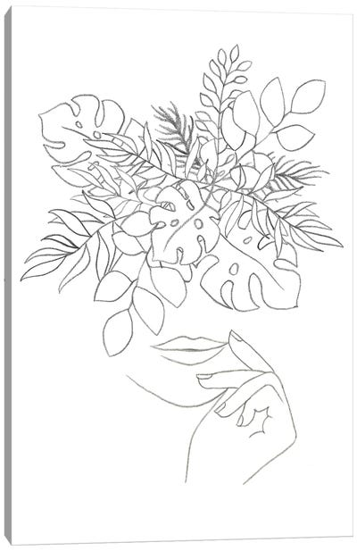 Line art woman and plants Canvas Art Print