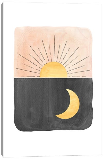 Day and night, sun and moon Canvas Art Print