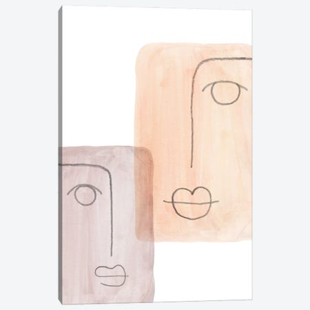 Abstract faces II Canvas Print #WWY138} by Whales Way Art Print