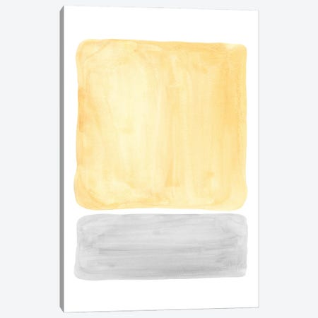 Yellow and gray watercolor shapes Canvas Print #WWY139} by Whales Way Canvas Print