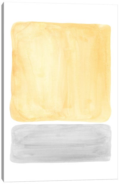 Yellow and gray watercolor shapes Canvas Art Print