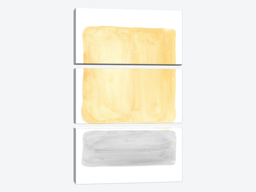 Yellow and gray watercolor shapes by Whales Way 3-piece Canvas Artwork