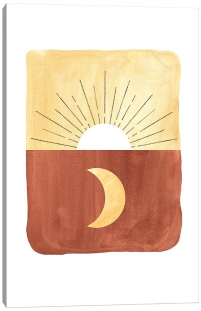 Abstract sunrise and moon Canvas Art Print