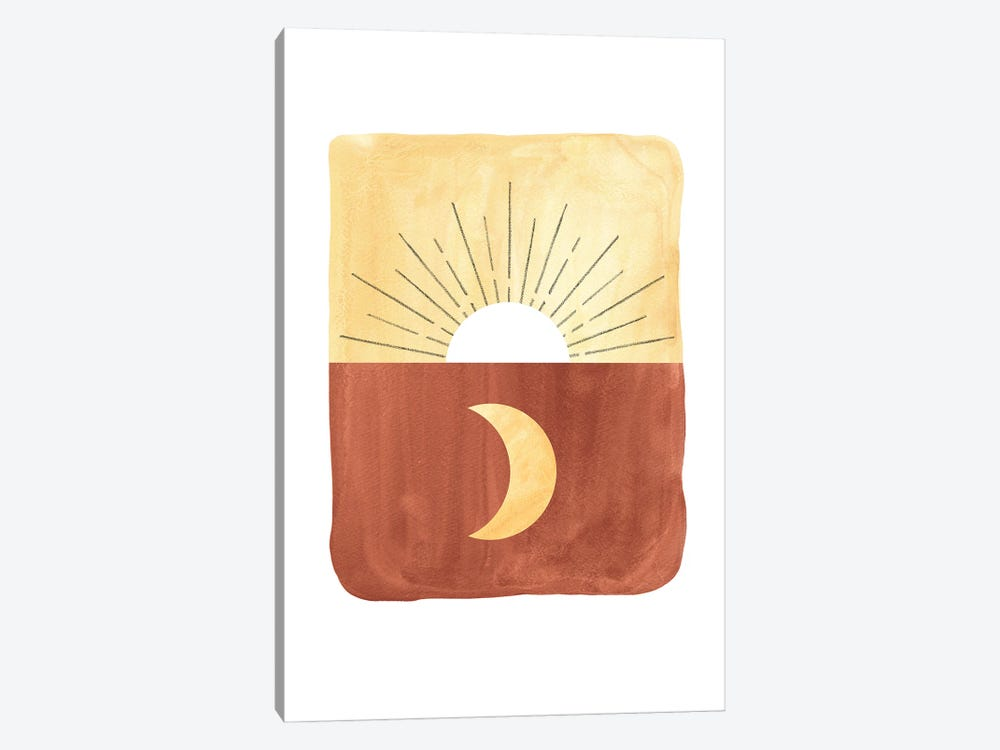 Abstract sunrise and moon by Whales Way 1-piece Canvas Wall Art