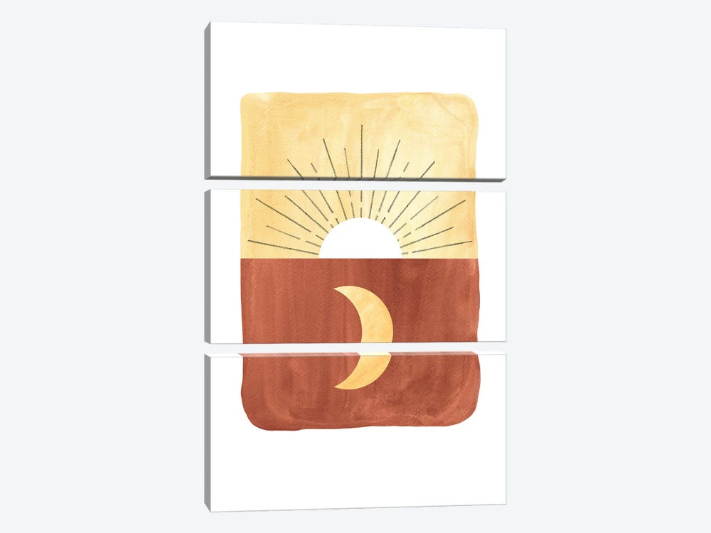 Abstract sunrise and moon by Whales Way 3-piece Canvas Wall Art