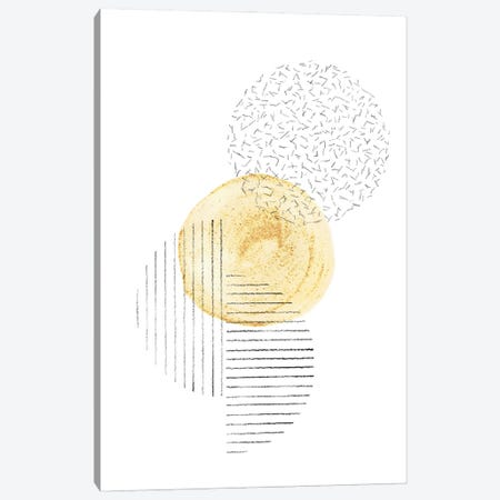 Mustard and line art circles Canvas Print #WWY141} by Whales Way Canvas Art