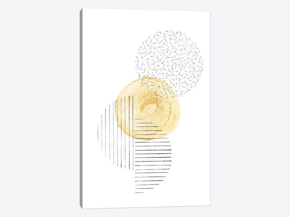 Mustard and line art circles by Whales Way 1-piece Art Print