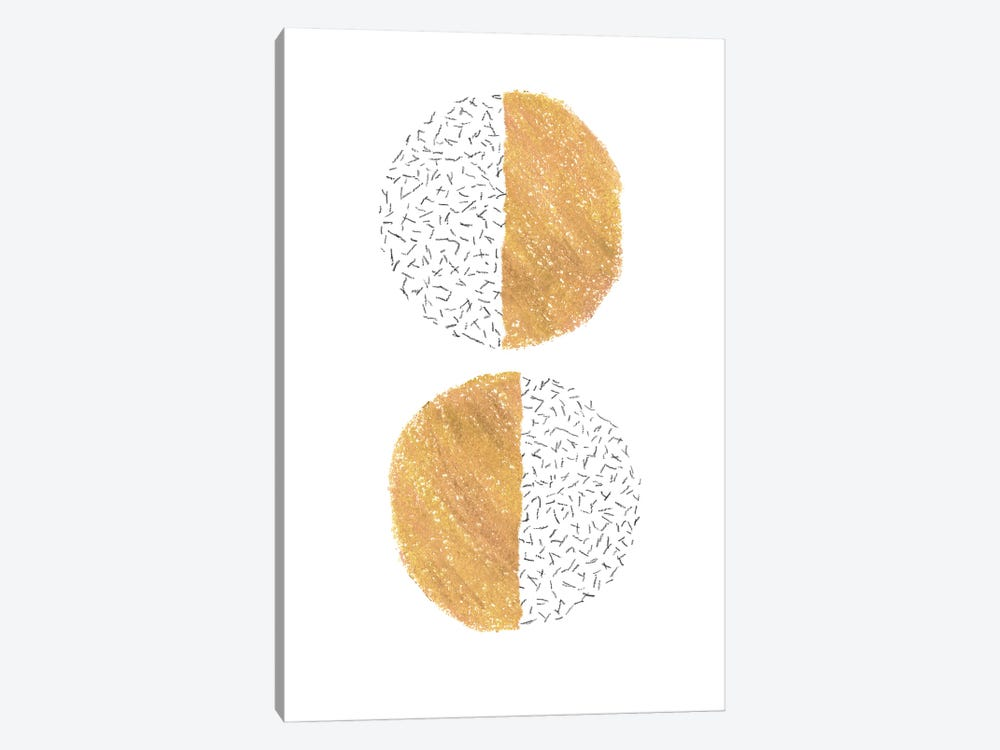 Mustard half circles by Whales Way 1-piece Canvas Art Print