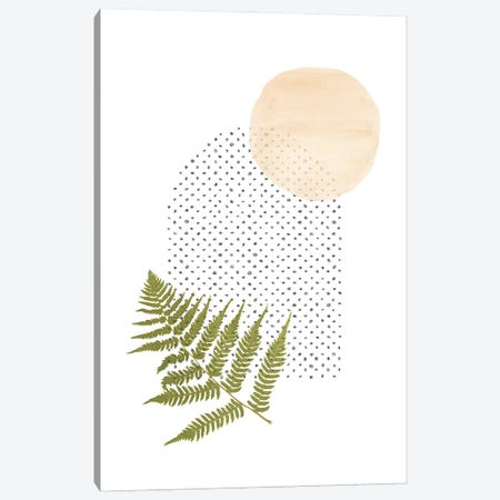 Fern And Abstract Shapes 3-Piece Canvas #WWY150} by Whales Way Canvas Print