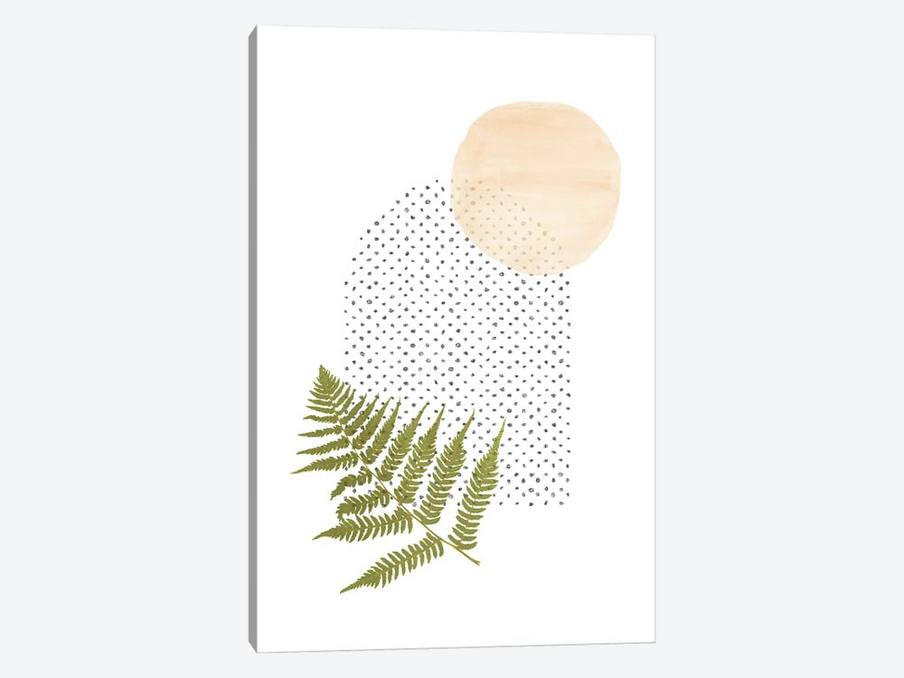Fern And Abstract Shapes by Whales Way 1-piece Canvas Print