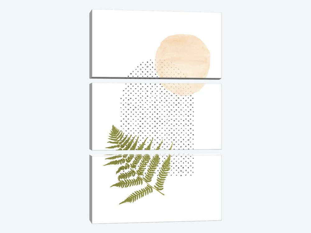 Fern And Abstract Shapes by Whales Way 3-piece Canvas Print