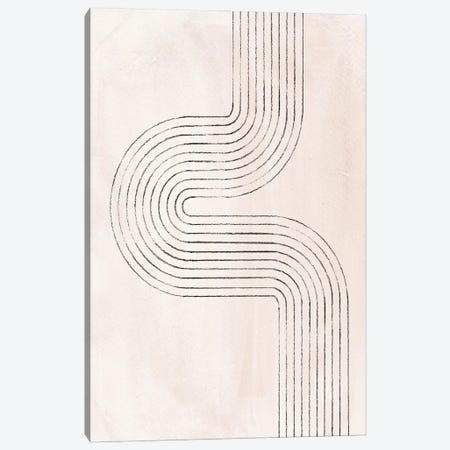 Neutral Beige Curved Lines Canvas Print #WWY161} by Whales Way Canvas Wall Art