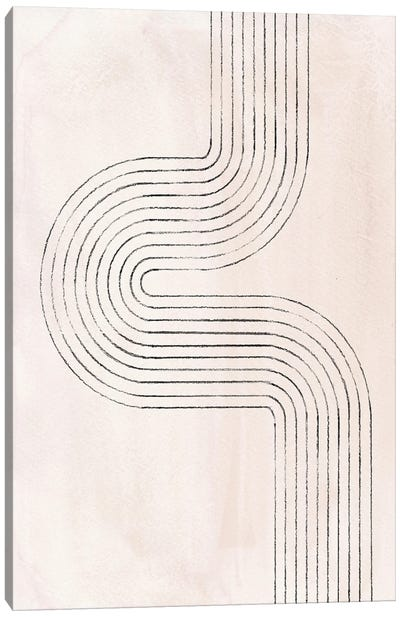 Neutral Beige Curved Lines Canvas Art Print