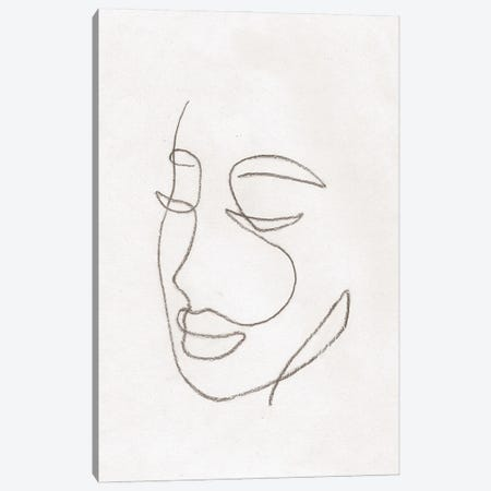 Line Art Woman Face Canvas Print #WWY162} by Whales Way Canvas Artwork