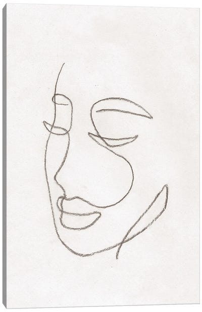 Line Art Woman Face Canvas Art Print