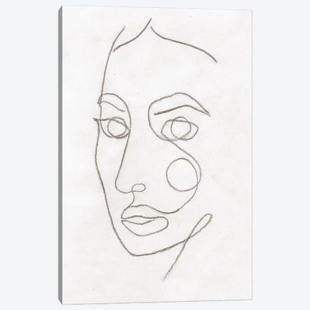Line Art Woman Face II Canvas Print #WWY163} by Whales Way Canvas Art