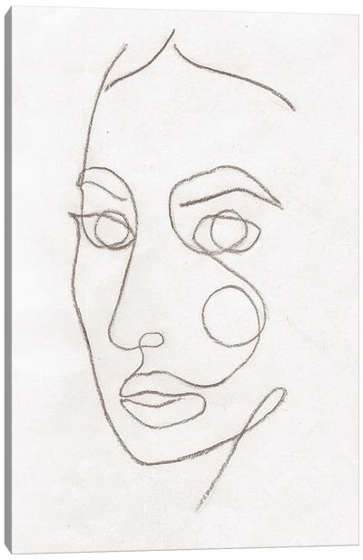 Line Art Woman Face II Canvas Art Print