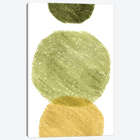 Green And Mustard Circles Canvas Print #WWY165} by Whales Way Canvas Print