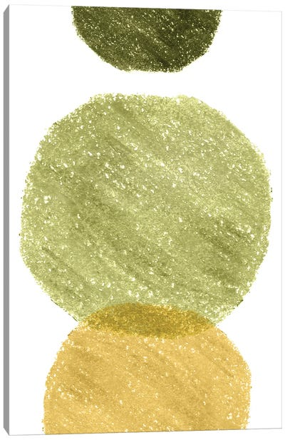 Green And Mustard Circles Canvas Art Print