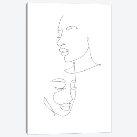 Line Art Female Faces Canvas Print #WWY169} by Whales Way Canvas Artwork