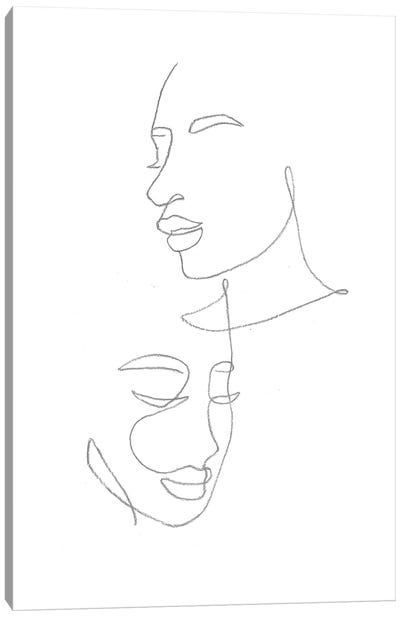 Line Art Female Faces Canvas Art Print