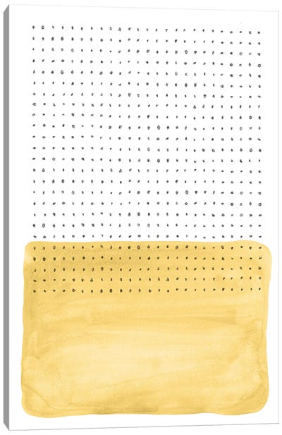 Abstract Mustard Watercolor And Points Canvas Art Print