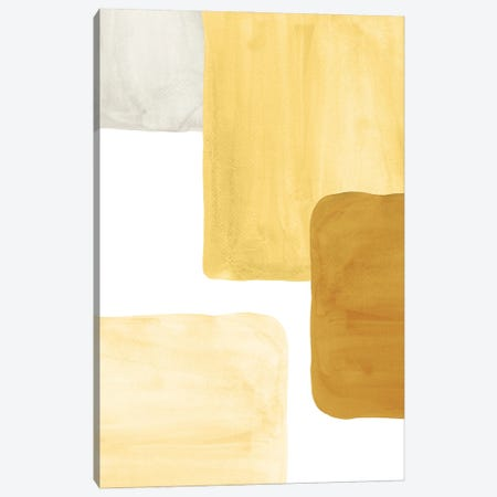 Mustard Color Blocks Canvas Print #WWY183} by Whales Way Canvas Art