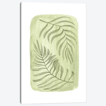 Green Palm Leaves Canvas Print #WWY188} by Whales Way Canvas Wall Art