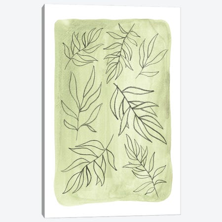 Soft Green Leaves Canvas Print #WWY189} by Whales Way Canvas Artwork