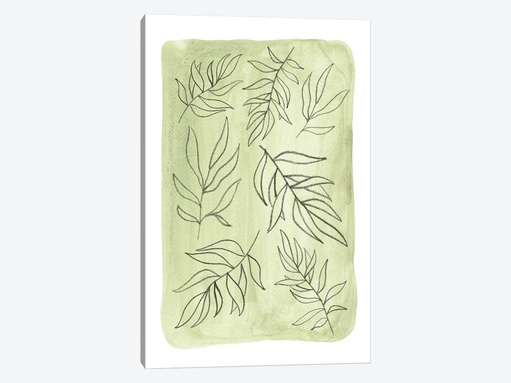 Soft Green Leaves by Whales Way 1-piece Canvas Print