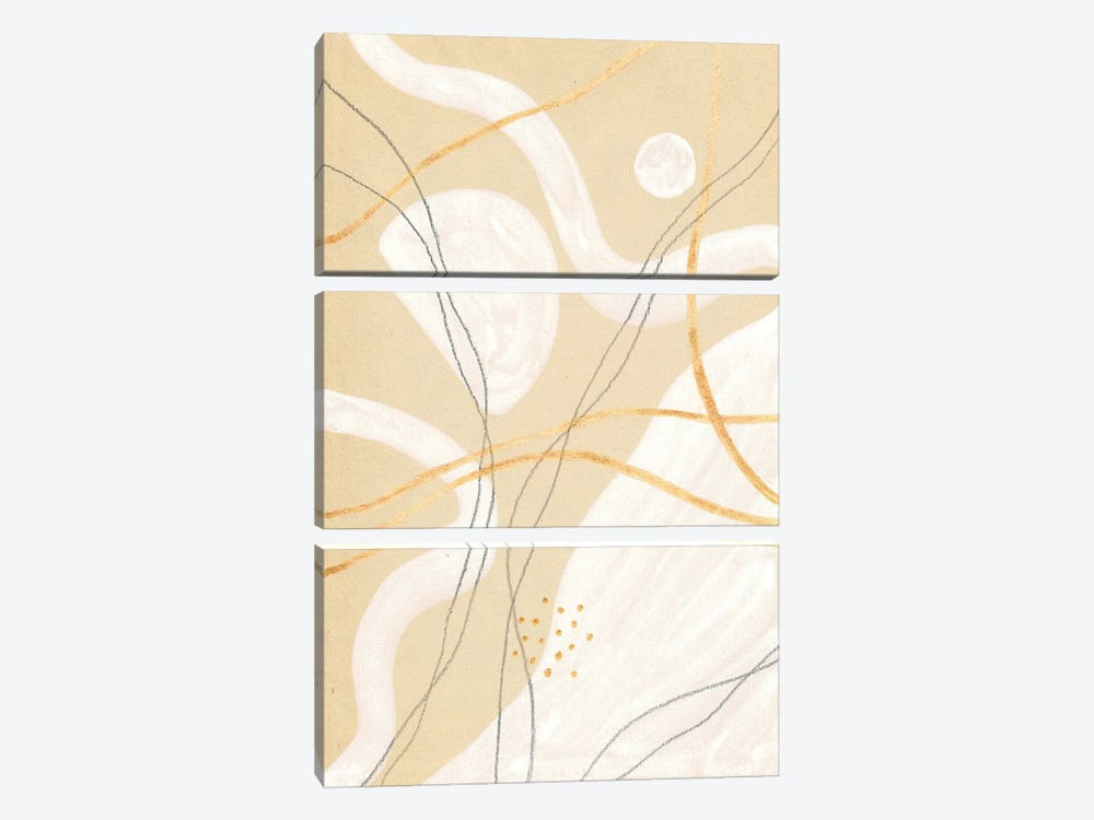 Abstract Beige And White Art by Whales Way 3-piece Canvas Artwork