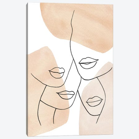 Female Lips Neutral Colors Canvas Print #WWY19} by Whales Way Canvas Print
