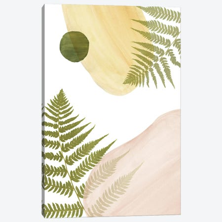 Abstract Shapes And Fern Canvas Print #WWY202} by Whales Way Art Print