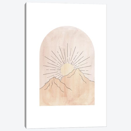 Pastel Mountains And Sun Canvas Print #WWY204} by Whales Way Canvas Artwork