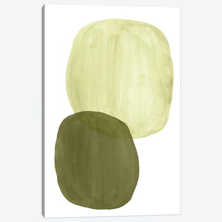 Green Tone Organic Shapes Canvas Print #WWY205} by Whales Way Canvas Art