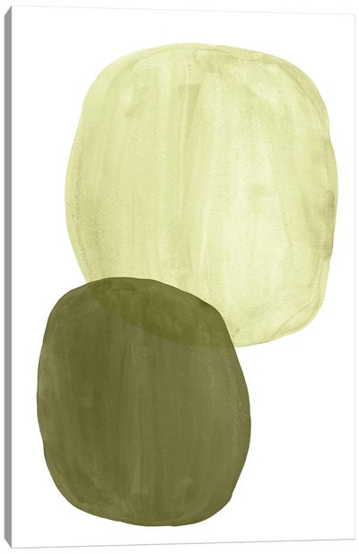 Green Tone Organic Shapes Canvas Art Print